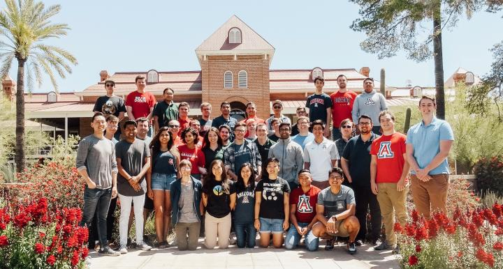 University of Arizona graduate students in front of Old Main